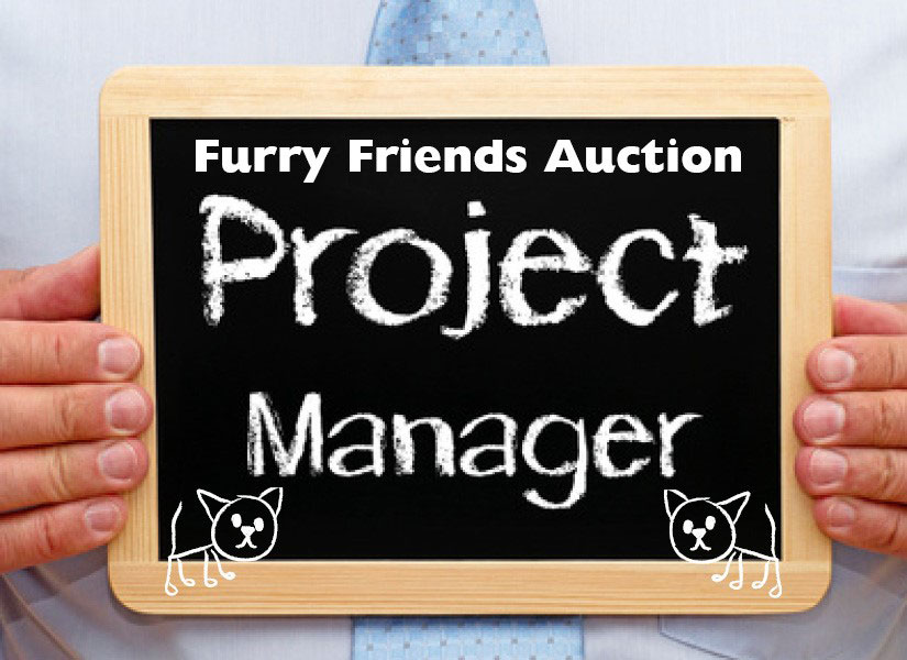 """Blackboard sign that says """"auction project manager"""""""