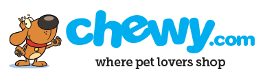 Chewy logo with cartoon dog on it