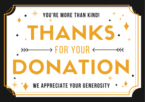 THANK YOU donation graphic with text on it