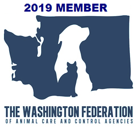 Logo of the Washington Federation of Animal Care and Control Agencies featuring a dog and cat