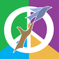 Peace and Justice Fair logo with a hand and a bird