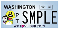 Washington SMPLE We Love Our Pets License Plate