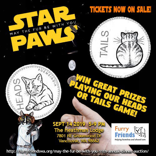 Star Paws 2019 Auction Heads or Tails Game Flyer