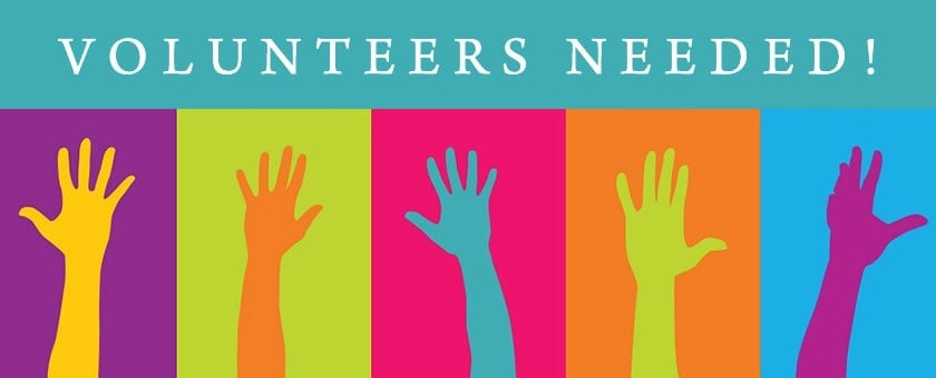 Volunteers needed sign with multi-colored hands waving